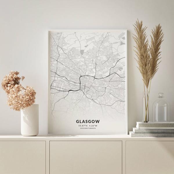City-Map Glasgow im Stil Elegant