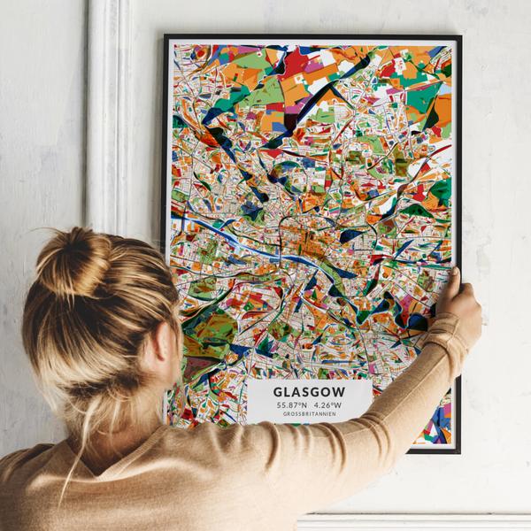 City-Map Glasgow im Stil Kandinsky