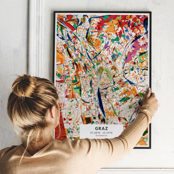City-Map Graz im Stil Kandinsky