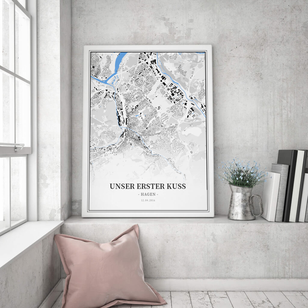 Stadtkarte Hagen im Stil Schwarzplan