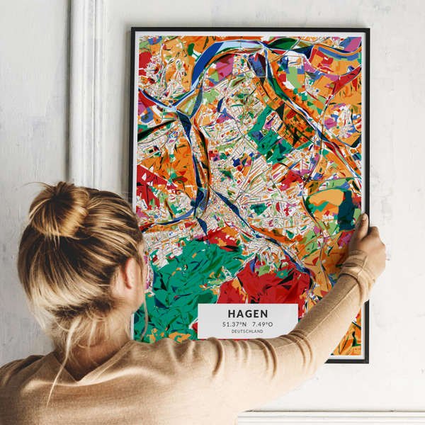 City-Map Hagen im Stil Kandinsky