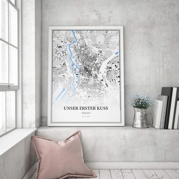 Stadtkarte Halle im Stil Schwarzplan