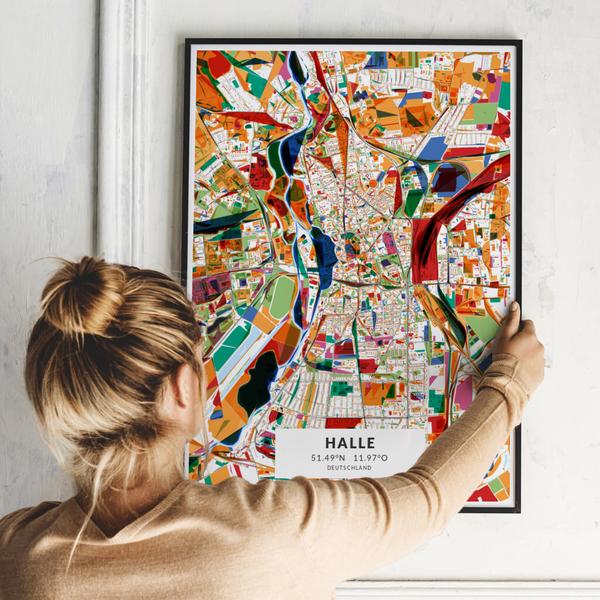 City-Map Halle im Stil Kandinsky