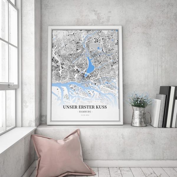 Stadtkarte Hamburg im Stil Schwarzplan