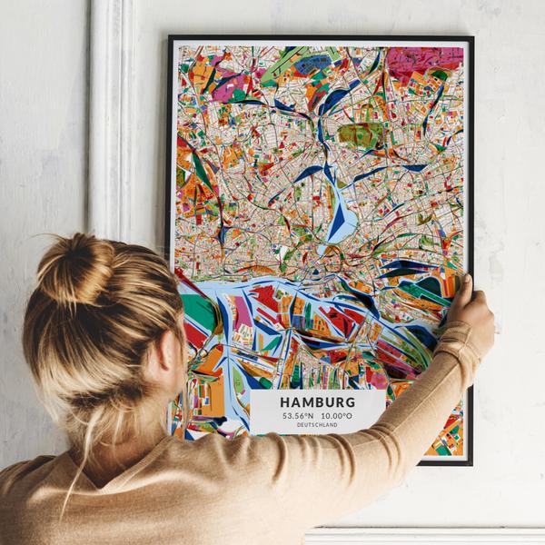City-Map Hamburg im Stil Kandinsky