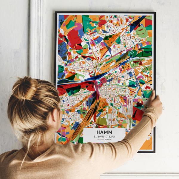 City-Map Hamm im Stil Kandinsky