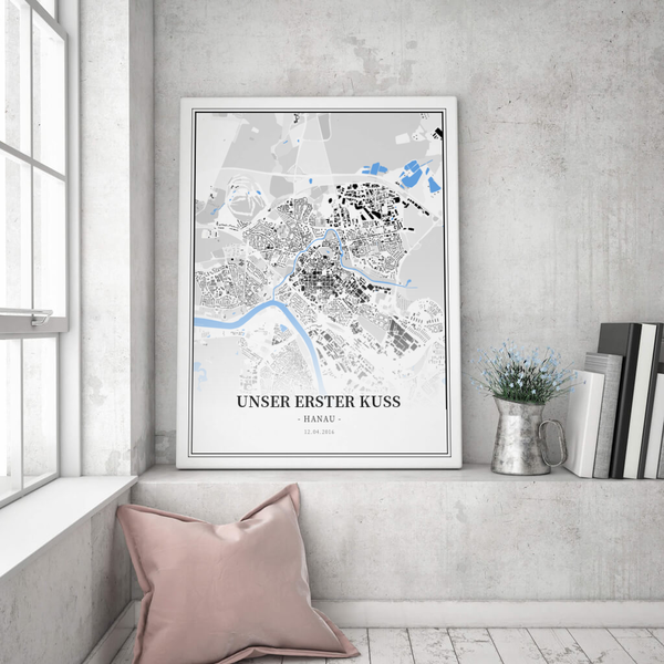Stadtkarte Hanau im Stil Schwarzplan