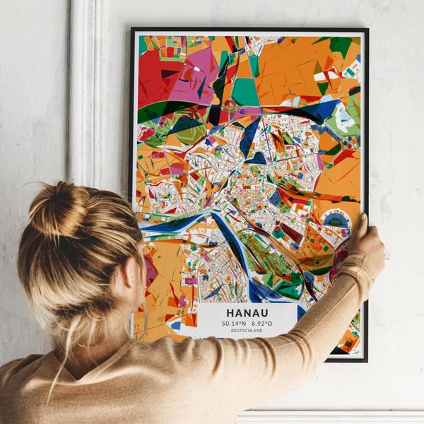 City-Map Hanau im Stil Kandinsky