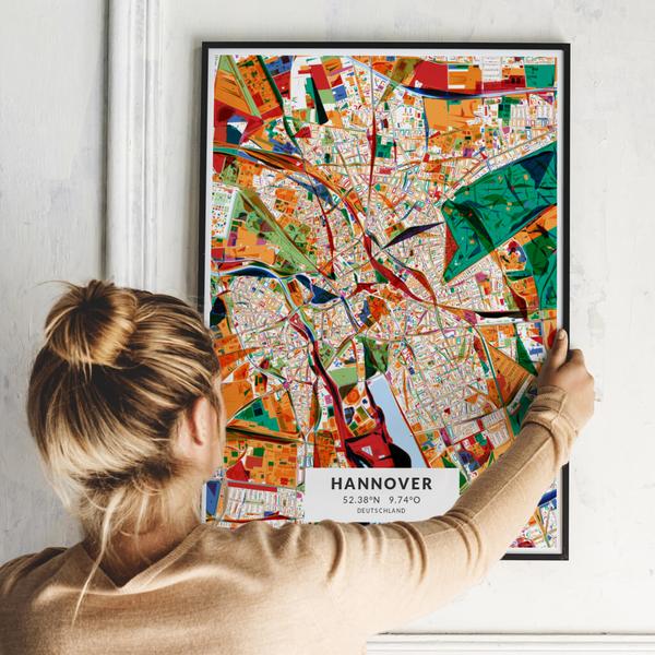 City-Map Hannover im Stil Kandinsky