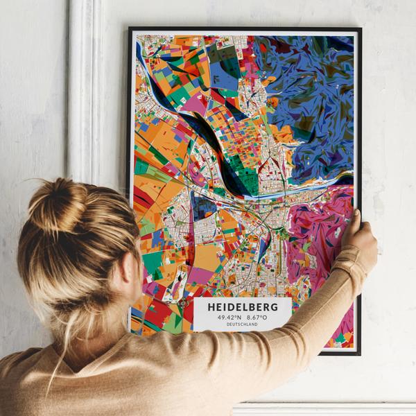 City-Map Heidelberg im Stil Kandinsky