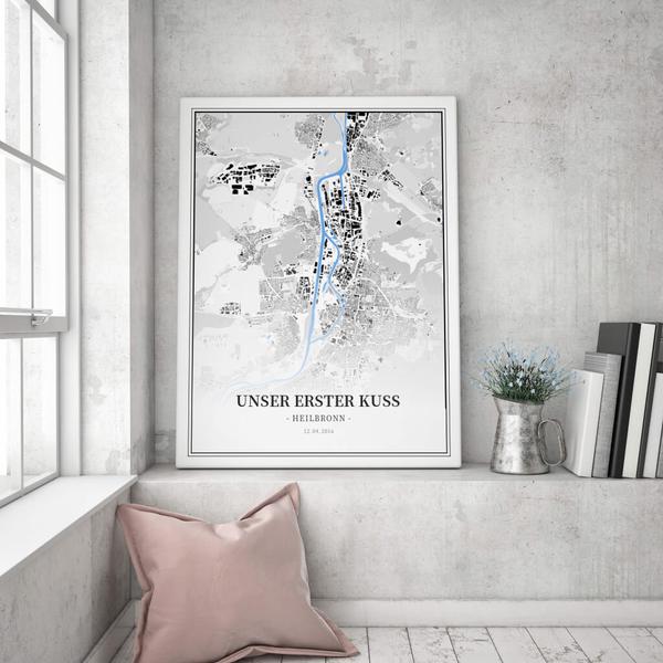 Stadtkarte Heilbronn im Stil Schwarzplan