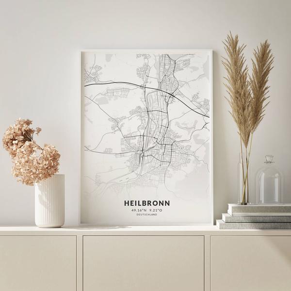 City-Map Heilbronn im Stil Elegant