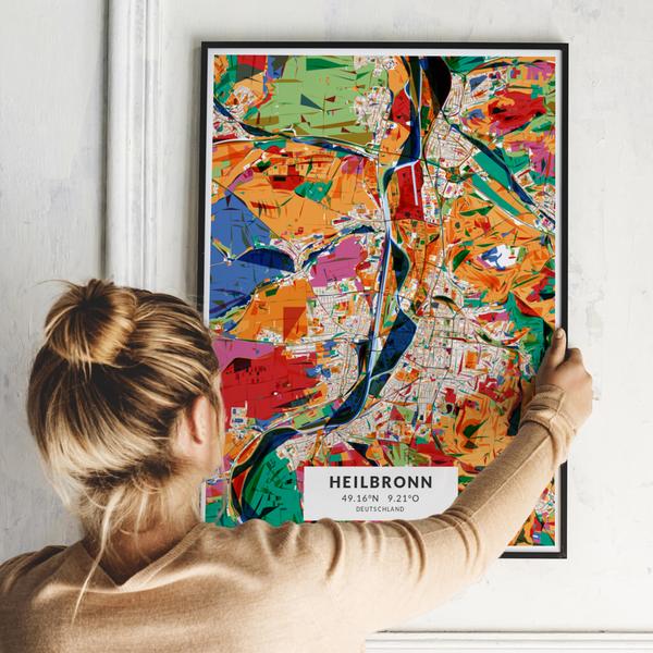 City-Map Heilbronn im Stil Kandinsky