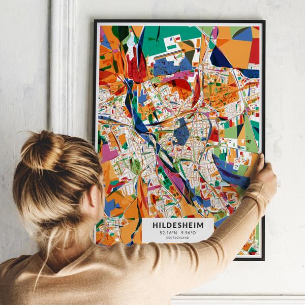 City-Map Hildesheim im Stil Kandinsky
