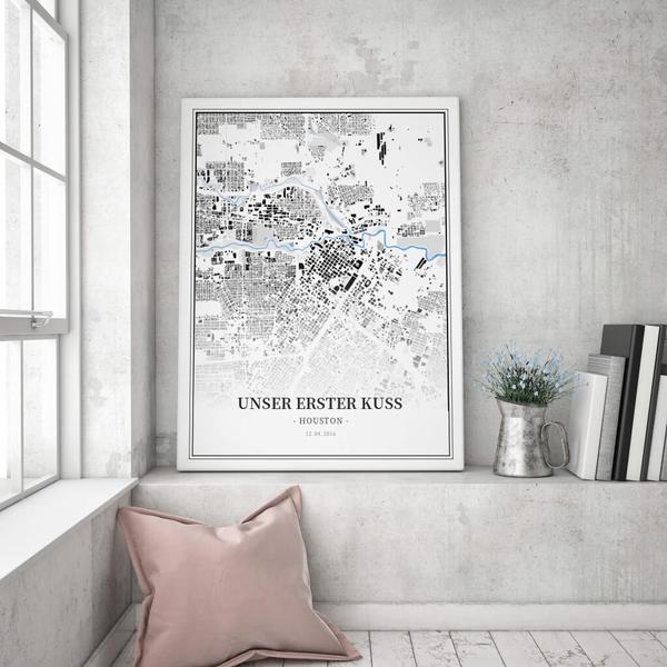Stadtkarte Houston im Stil Schwarzplan