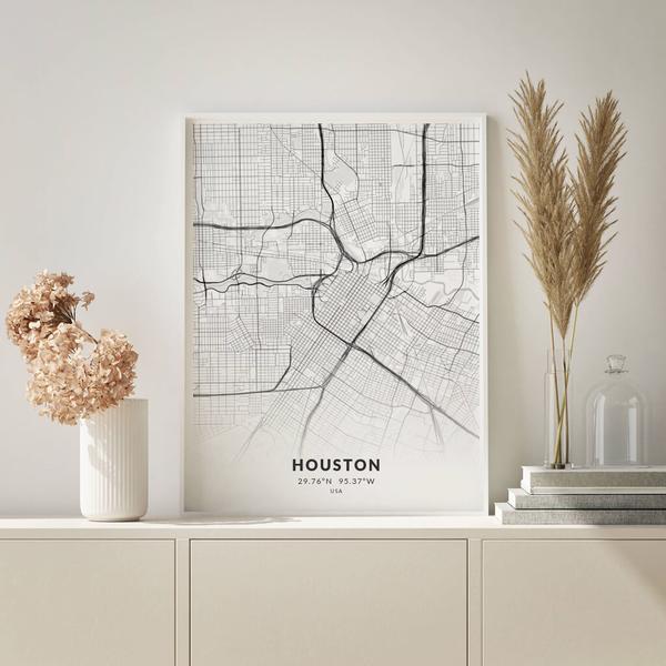 City-Map Houston im Stil Elegant