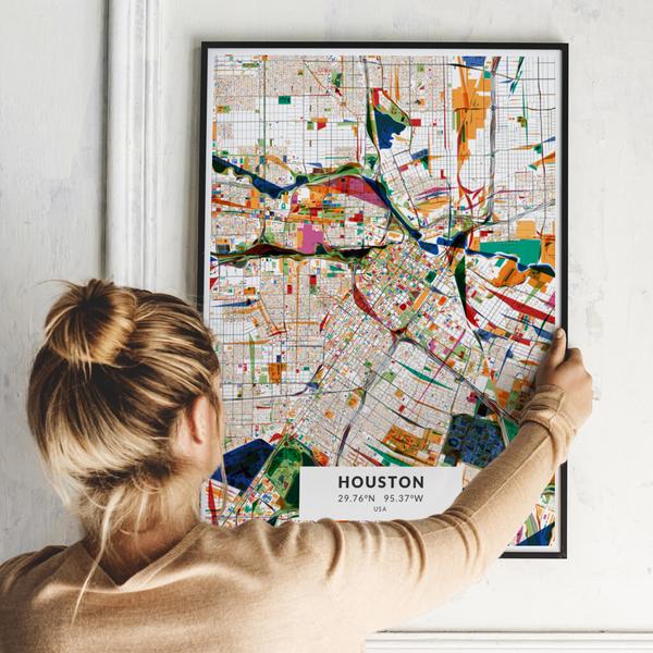 City-Map Houston im Stil Kandinsky