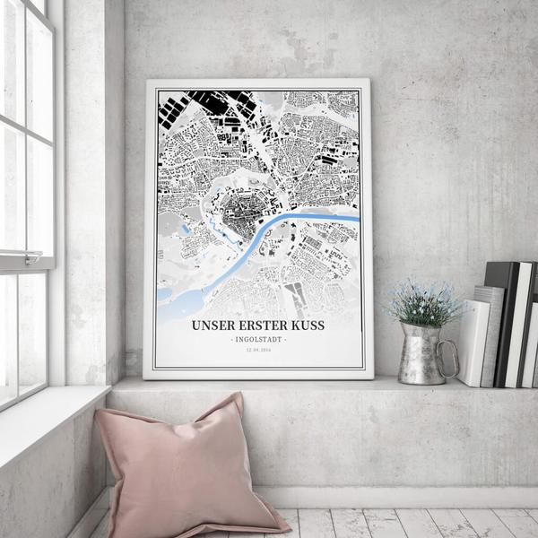 Stadtkarte Ingolstadt im Stil Schwarzplan