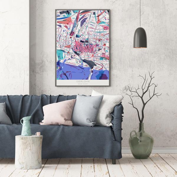 Stadtkarte Iserlohn im Stil Primavera