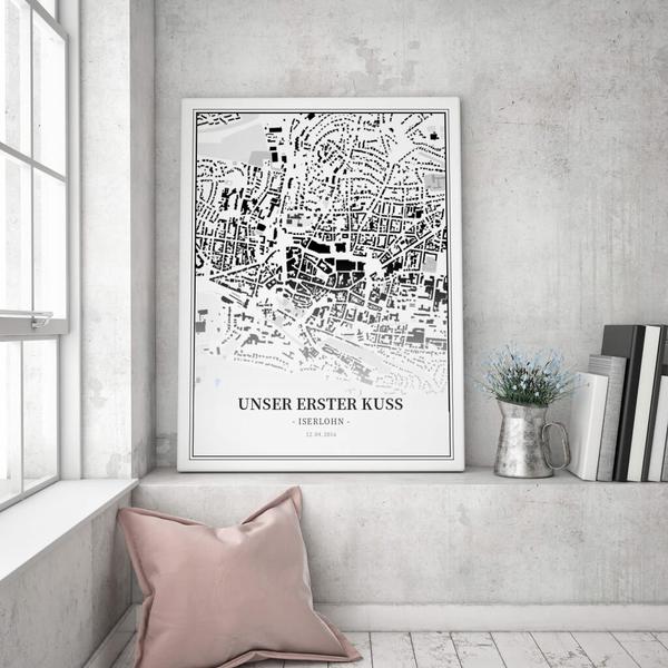 Stadtkarte Iserlohn im Stil Schwarzplan