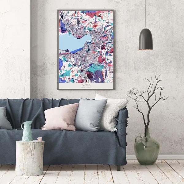 Stadtkarte Izmir im Stil Primavera