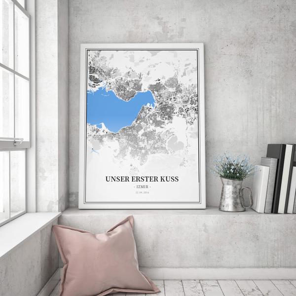 Stadtkarte Izmir im Stil Schwarzplan