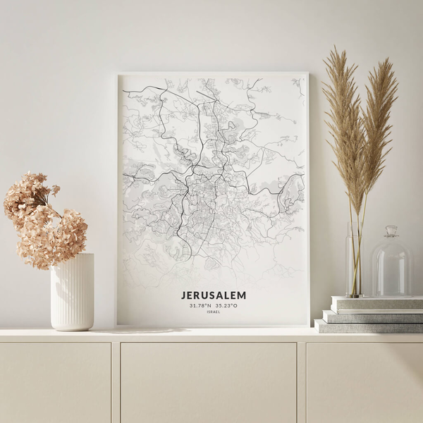 City-Map Jerusalem im Stil Elegant