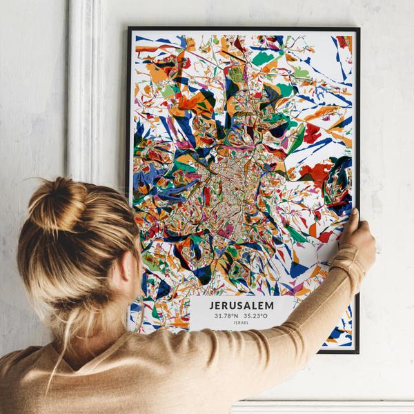 City-Map Jerusalem im Stil Kandinsky
