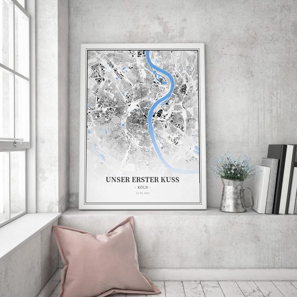 Stadtkarte Köln im Stil Schwarzplan