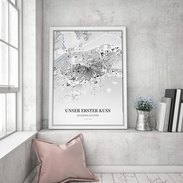 Stadtkarte Kaiserslautern im Stil Schwarzplan
