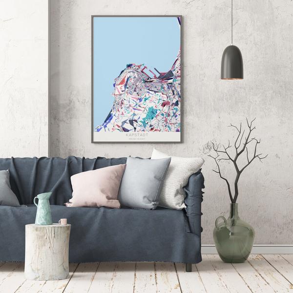 Stadtkarte Kapstadt im Stil Primavera