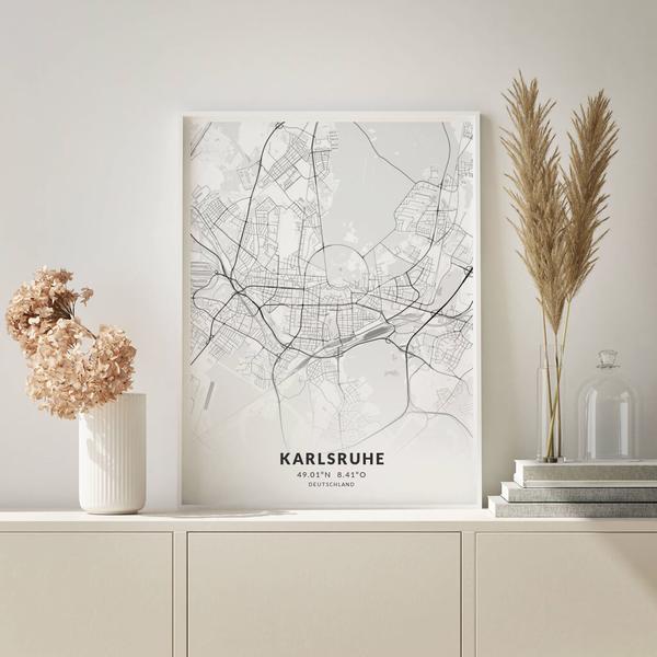City-Map Karlsruhe im Stil Elegant