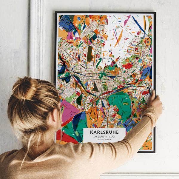 City-Map Karlsruhe im Stil Kandinsky