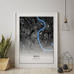 Gerahmtes Poster von Köln im Stil Architekt