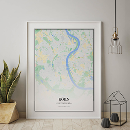 Gerahmtes Poster von Köln im Stil Atlas