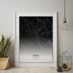 Gerahmtes Poster von Köln im Stil Black