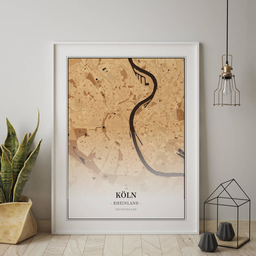Gerahmtes Poster von Köln im Stil Holz