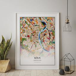 Gerahmtes Poster von Köln im Stil Kandinsky