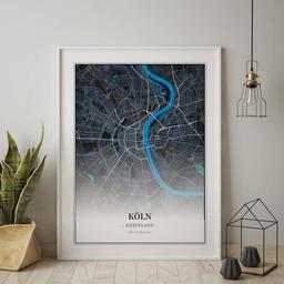 Gerahmtes Poster von Köln im Stil Midnight