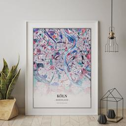 Gerahmtes Poster von Köln im Stil Primavera