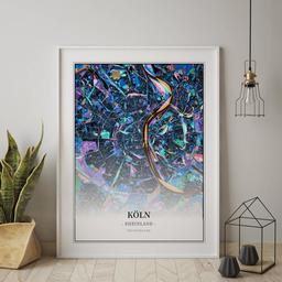 Gerahmtes Poster von Köln im Stil Schwarzlicht
