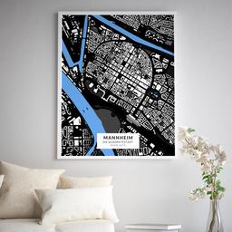 Gerahmtes Poster der Innenstadt Mannheims im Stil Architekt