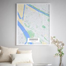Gerahmtes Poster der Innenstadt Mannheims im Stil Atlas