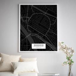 Gerahmtes Poster der Innenstadt Mannheims im Stil Black