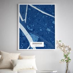 Gerahmtes Poster der Innenstadt Mannheims im Stil Blaupause