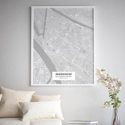 Gerahmtes Poster der Innenstadt Mannheims im Stil Bleistift