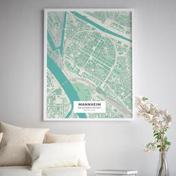 Gerahmtes Poster der Innenstadt Mannheims im Stil Cozy