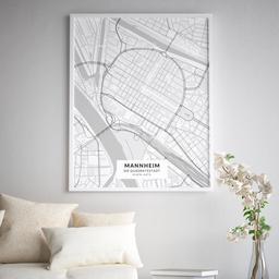 Gerahmtes Poster der Innenstadt Mannheims im Stil Elegant