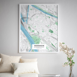 Gerahmtes Poster der Innenstadt Mannheims im Stil Gentle
