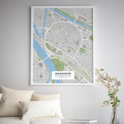 Gerahmtes Poster der Innenstadt Mannheims im Stil Greenfield